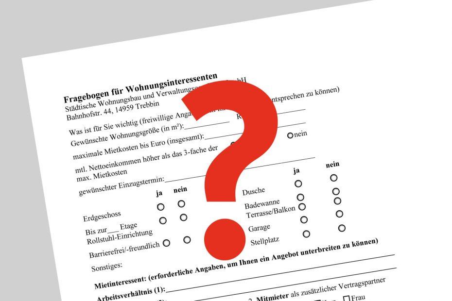 Fragebogen für Wohnungsinteressenten